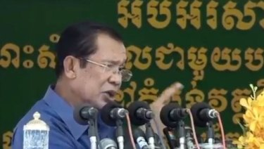 Hun Sen making the threat in a speech on Wednesday to garment workers which has been broadcast across Cambodia.