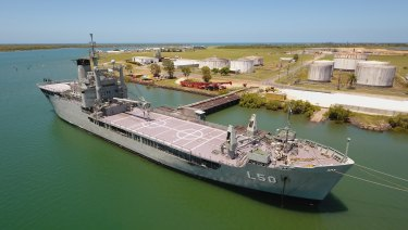 Drone aerial views of the decommissioned ex-HMAS Tobruk, in readiness for becoming an artificial reef.