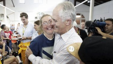 Prime Minister Malcolm Turnbull meets with people affected by the Tathra bushfires and volunteers.