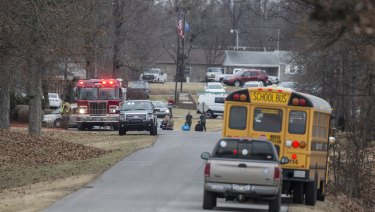 Emergency crews respond to Marshall County High School after a fatal school shooting.