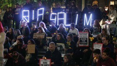 A protest vigil for refugees who have died on Manus Island is seen at the the State Library of Victoria in Melbourne.