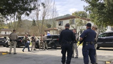 Police at the scene of the shooting at a California veterans home.