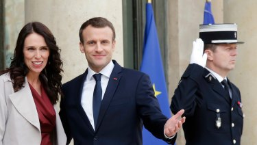 NZ Prime Minister Jacinda Ardern with French President Emmanuel Macron earlier this month.
