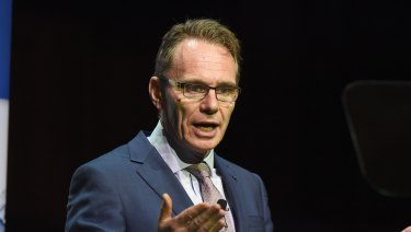BHP CEO Andrew Mackenzie speaks at the Melbourne Mining Club in December.