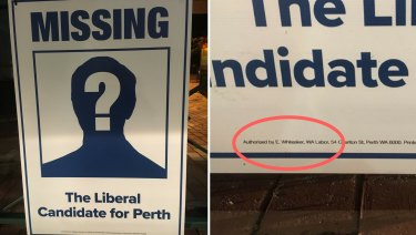 WA Labor are putting up posters in Perth reminding voters the Liberal party aren't in the race.