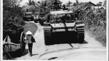 "A welcome sight to infantry and gunners in the fire support bases at ""Coral"" and ""Balmoral"", in north-west Bien Hoa Province was the arrival of Australian Centurion tanks."