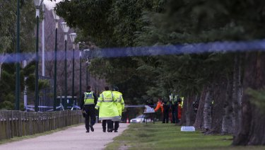 Police closed off Princes Park for line searches after the woman's body was found on Wednesday morning.