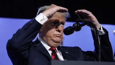 Seeing increases everywhere: US President Donald Trump shield his eyes from stage lights as he take questions from members of the media during a news conference before departing the NATO Summit in Brussels.