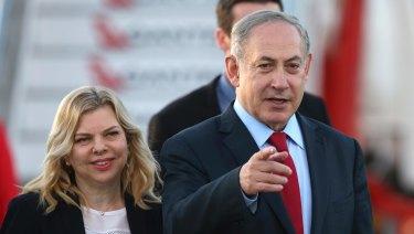 Israeli Prime Minister Benjamin Netanyahu, right, and his wife, Sara in Sydney.