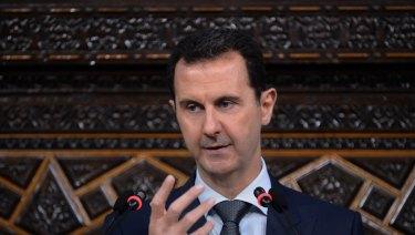 Syrian President Bashar Assad speaks in Damascus, Syria in 2016.