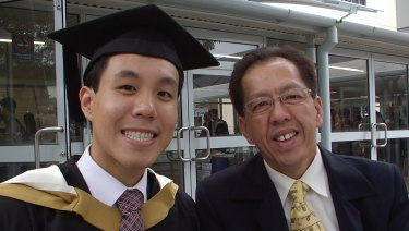 Alpha Cheng with his father Curtis.