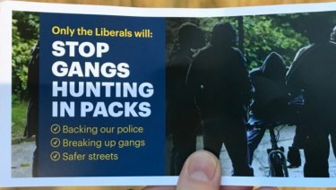 A Liberal flyer about gang violence has drawn controversy.