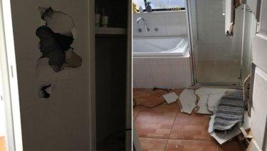 Damage inside the rented Ryan Street home.