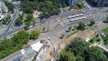 Major works are underway on St Kilda Road to make way for the Metro Tunnel rail project.