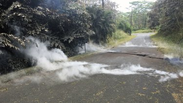 Fumes come out of cracks in Hawaii.