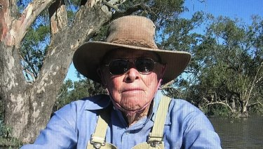 """Grazier Jeff Perry at """"Merrigal"""" in his 90s in an unusually good season."""