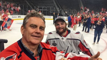 APA CEO Mick McCormack with Nathan Walker, Australia's first National Hockey League player.