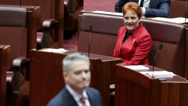 Minister for Finance Mathias Cormann walks past Senator Pauline Hanson in the Senate