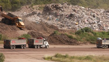 The stockpile of mostly interstate waste at BMI Group's Swanbank recycling facility in Ipswich has grown significantly over the last month.