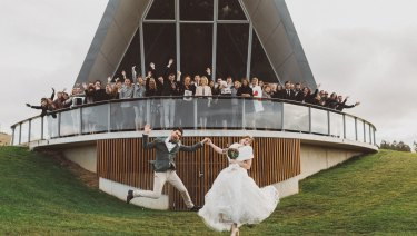 Campbell couple John Binos and Celeste Searle married at the National Arboretum on June 16.
