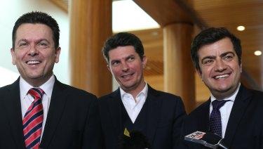 Senators Sam Dastyari, Scott Ludlam and Nick Xenophon announcing the Future of Public Interest Journalism inquiry in May.