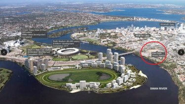 East Perth revitalisation precinct, showing the various redevelopment sites including the power station (circled).