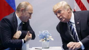 US President Donald Trump meets briefly with Russian President Vladimir Putin at the G20 Summit in Hamburg last year.