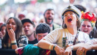 Fans swept up in a music festival moment.