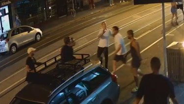 A violent brawl erupted in Chapel Street on Wednesday night leaving one man seriously injured.