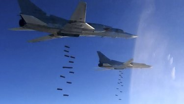 Russian planes bomb Islamic State group targets in Syria last year.