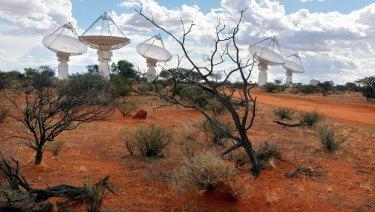 The Australian Square Kilometre Array radio telescope array stretches across the landscape at Boolardy station in Western Australia, 800 kilometres north-east of Perth.