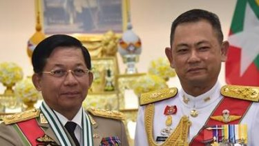 "Senior General Min Aung Hlaing posted a photo to his Facebook page alongside his Thai counterpart as he received the ""Knight Grand Cross First Class of the Most Exalted Order of the White Elephant."""