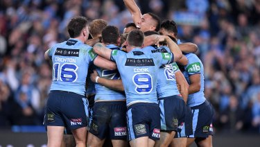 Inexperienced but strong: The Blues celebrate after winning the series.