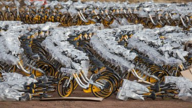 Thousands of oBikes in a lot at Nunawading. oBike launched in Melbourne about a year ago.