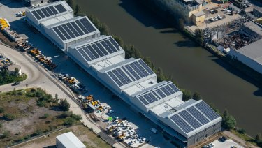 About 1600 solar panels installed on the roof of the Alexandra Canal Depot will be supported by a Tesla industrial-scale battery