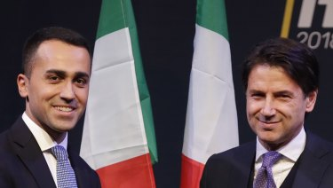 Giuseppe Conte, right, with the leader of the Five-Star Movement, Luigi Di Maio, during a meeting in Rome.