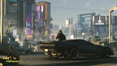 As V, players will delve into the dark underbelly of Night City in <i>Cyberpunk 2077</i>, shown for the first time at E3.