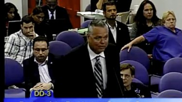 Officer Scot Peterson during a school board meeting of Broward County, Florida.