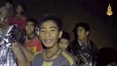 The 12 boys and their coach trapped in the Thai cave.