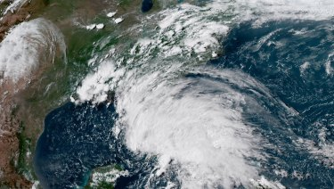 A satellite image shows subtropical storm Alberto in the Gulf of Mexico on Saturday.