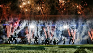 Dancers, fireworks and music brought the crowd into the game.