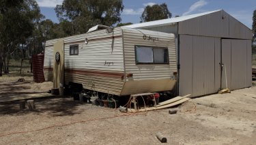 A caravan on the property where the children were found.