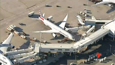 NSW Fire & Rescue crews respond to a suspected hazardous materials spill at Sydney Airport.