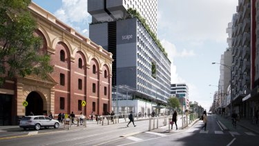 Renders of the new Scape student accommodation on the CUB site on Swanston Street in Melbourne