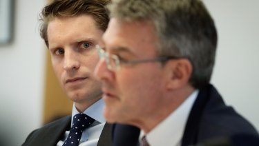 Liberal MP Andrew Hastie and Shadow Attorney-General Mark Dreyfus during a Parliamentary Joint Committee of Intelligence and Security (PJCIS) hearing on the Review of the Home Affairs and Integrity Agencies Legislation Amendment Bill 2017, at Parliament House in Canberra.
