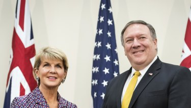 Julie Bishop, left, and Mike Pompeo at a bilateral meeting at the AUSMIN talks at Stanford University.