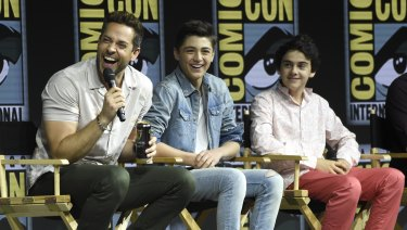 Zachary Levi, from left, Asher Angel and Jack Dylan Grazer speak at the Shazam panel at Comic-Con.