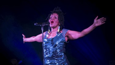PP Arnold, pictured at the Meeniyan Town Hall, commanded the stage in Thornbury on Friday night.