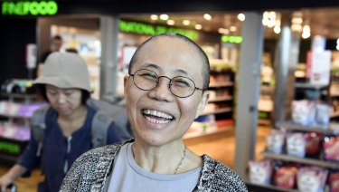 Liu Xia, the widow of Chinese Nobel dissident Liu Xiaobo, arrives at Helsinki International Airport in Vantaa, Finland.