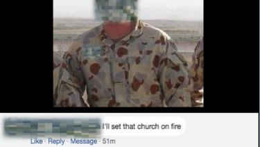 The person who made the threat against the Gosford Anglican Church on its Facebook page. The church obscured the man's identity.